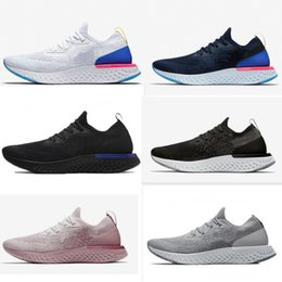 Wholesale Lace Tops Designs - 2018 Top Sale Epic React Foam Running Shoes Fly Knitting Upper Vamp Sport Boost Mens Women Running Shoes Design Cushioning Athletic Sneakers