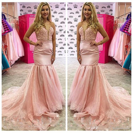 Wholesale Cheap Formal Maxi Dresses - Sheer Pink Organza 2018 Mermaid Prom Dresses Beaded Crystal Lace Appliques Sweep Slim Formal Women Maxi Evening Party Dress Cheap