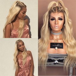 Wholesale Wig Golden - Ombre Human Hair Lace Front Wig 613 Golden Blonde Ash Roots Pre Plucked Remy Lace Wigs with Baby Hair