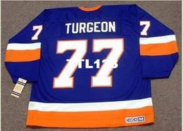 2019 camicie hockey americane Uomini # 77 PIERRE TURGEON New York Islanders 1993 CCM Vintage Home Hockey Jersey o personalizzato qualsiasi nome o numero retrò Jersey