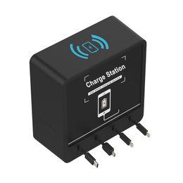 Baterías del teléfono celular de motorola online-QI Wireless Charger Power Bank Alta capacidad 6 puertos 20000mAh batería de escritorio del teléfono celular restaurante estación de carga