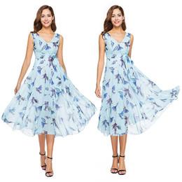 2019 cielo swing Abiti eleganti per le donne Sky Blue Chiffon con scollo a V Big Swing abiti estivi floreali Plus Size sconti cielo swing