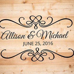 Wholesale Wholesale Custom Decals - Wedding Ceremony Date Lettering Wall Stickers Custom Name Love Quotes Wall Decals Wallpapers Wall Decal Home Decors