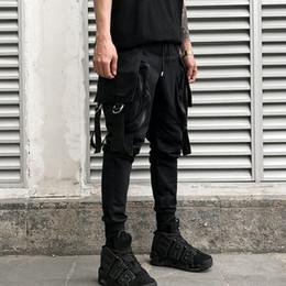 Costumes de scène pour hommes en Ligne-Pantalon hip-hop sarouel pour hommes multi-poches pantalon cargo punk pour hommes discothèque joggers costume de scène pantalon noir décontracté pour homme