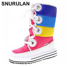 Scarpe invernali belle online-SNURULAN Color Boots Alti al ginocchio Scarpe donna 2018 nuovi arrivi scarponi stringati Nice e alta qualità Winter Girl