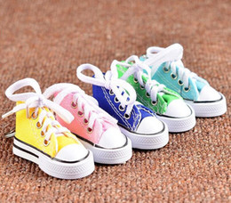 Wholesale Sneaker Mini - 3D Sneaker Keychain Novelty Mini Canvas Shoes Key Ring Shoes Key Chain Holder Handbag Pendant Favors