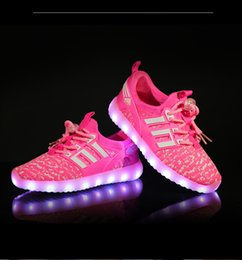 Wholesale 37 Led - The Cross-border Winter New LED Light Colorful Shoes Breathable Children Shoes Size25-37