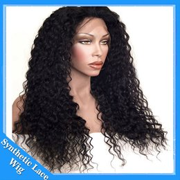 Wholesale Freetress Hair - Cheap Synthetic lace front wig afro kinky curly wig natural black color and dark brown 12-26 inch in stock freetress hair synthetic wigs