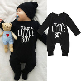 infants pajamas Promo Codes - Infant baby boy black long sleeve jumpsuit romper pajamas letter print mama little boy playsuit newborn baby kid clothing rompers 0-24M