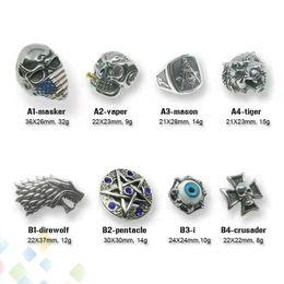 Freie maurerringe online-Neueste VaperFace Titan Stahl Ring 8 Arten für Zerstäuber Mods Box Mod E cig Ersatzteil lustige Vaping Maurer Tiger Direwolf DHL Free
