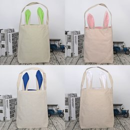Wholesale folding rabbit - Rabbit Ears Canvas Handbag Portable Cute Easter Gift Storage Bag Party Supplies Multi Color 8yb2 C R