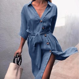 16df73eb49 button down dress knee length 2019 - Women Button Down Shirt Dress Belted  Elegant Autumn 2018