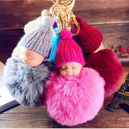 Wholesale Doll Holders - Cute Sleeping Baby Doll Keychain Pompom Rabbit Fur Ball Key Chain Car Keyring Women Key Holder Bag Pendant Charm Accessories Novelty Items)