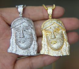 Wholesale white jesus piece - 2018 new latest design boy men jewelry iced out bling cz paved 3D Shaped Jesus piece pendant gold men necklace