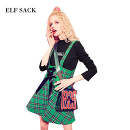 Wholesale Vintage Sack - ELF SACK Autumn Plaid Vintage Skirts Women Lace Up A-line Mini Straps Skirts Womens Office 2017 Casual Girl's Skirt