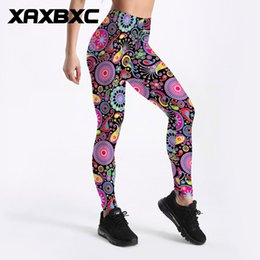 Wholesale Plus Size Patterned Leggings - C3692 Girl Colorful Circles National Pattern Prints Elastic Slim GYM Fitness Women Sport Leggings Yoga Pants Trousers Plus Size