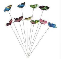 Свадьба домашнего декора 10 шт. / компл. 3D режим двойное крыло искусственные бабочки на палочки сад завод двор DIY Craft от