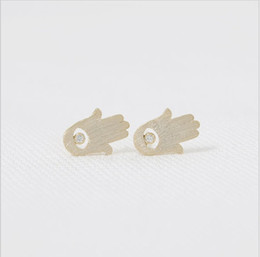Borchie d'orecchino occhio male online-Fashion gold stud earrings evil eye stud earrings Rhinestone palm combined stud earrings wholesale free shipping