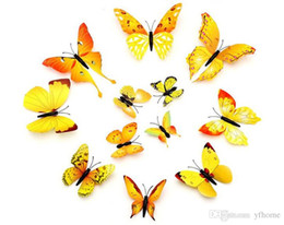 Pared de papel tapiz mariposa online-NUEVO 12pc 3D Art Butterfly Applique Etiqueta de la pared Decoración para el hogar Habitación Art Deco Wallpaper Dormitorio Sala de estar Selección