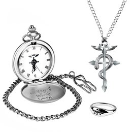 Wholesale Fullmetal Alchemist Necklace - Silver Color Fullmetal Alchemist Watch Necklace Pocket Watch Man Woman With Necklace Chain Gift Box