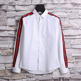 Wholesale Men Dress Clothing - 2018 luxury summer fashion designer luxury brand clothing men red striped embroidery snake star letter print shirts dress casual shirt