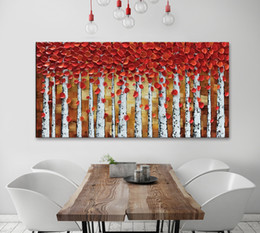 Wholesale textured oil painting frame - Handmade 3D Textured Birch Trees Canvas Painting Wall Art Abstract Framed Forest Landscape Tree Wall Painting Artwork for Living
