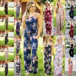 de94d63e254 summer long beach pants women Promo Codes - Women Spaghetti Strap Floral  Print Romper Jumpsuit Sleeveless
