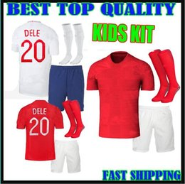 Wholesale Black Shirts Boys - kids kit 2018 england soccer Jersey World Cup ROONEY home KANE STURRIDGE STERLING dele 18 19 national team away boys child football shirts