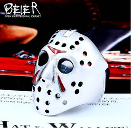 Wholesale antique celtic jewelry - BEIER New Halloween Men Ring 316L Stainless Steel Biker Jason Voorhees Hockey Mask with red colour Antique Jewelry BR8-461