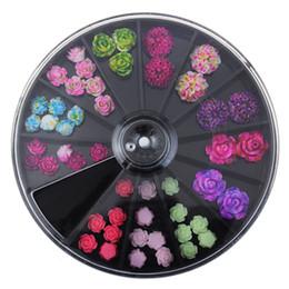 Flores de resina de arte de uñas online-última rueda japonesa del arte del clavo más nuevo 3D Corea Tendencia estilo resina rosas acrílico flores artificiales