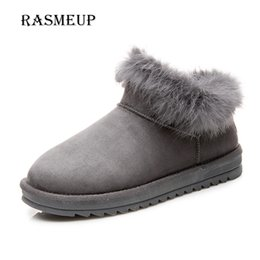 Wholesale Fur Snow Footwear - RASMEUP Women's Fur Snow Boots Fashion New Winter Women Cotton Thick Warm Flat Short Ankle Boots Woman Plush Footwear Shoes