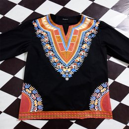 bordados de cauda vermelha bordados Desconto Estilo africano Dashiki Impresso T-shirt de Algodão dos homens Camisas Pretas Estilo Nacional África T-Shirts Étnicas para Mulheres e Homens
