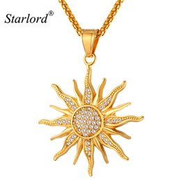 sun face pendant Promo Codes - New Sun Flower Necklace Pendant Rhinestone Charming Stainless Steel  Gold Color Rope Chain For Women Party Chic Jewelry Gp2434