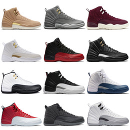 Wholesale Cream Wool - 12 mens basketball shoes Sunrise Bordeaux Dark Grey Wool Flu Game The Master Taxi Playoffs French Blue Suede Gym Red Barons Sports sneakers