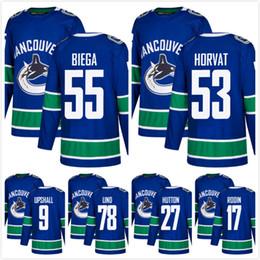 Wholesale Discounted Hockey Jerseys - DISCOUNT! AD Vancouver Canucks 53 Bo Horvat Alex Biega 17 Anton Rodin 9 Scottie Upshall 78 Kole Lind Ben Hutton HOCKEY JERSEY SHIRTS