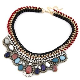 Wholesale exaggerated bib necklace - 2018 Bohemian Exaggerated Bib Statement Necklace Gem Stone Weave Necklaces & Pendants Maxi Big Necklace Colares