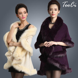 Wholesale Faux Fur Cashmere Scarf - Wholesale-New Fashion Long Wool Cashmere Faux Fox Fur Coat Cardigan Women Poncho Knitted Sweater Women Scarves