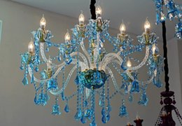 Argentina Regron Modern Chandelier Lamp Blue Led Crystal Chandelier Luces Rustic Natural French Style Lustre de techo para Living Cottage Uso Suministro