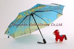 Wholesale Oil Paintings Maps - 10pcs lot phants Folding Parasols Rain Umbrellas & World Map Oil Painting Umbrella Red Green For Safty men & Women Umbrellas