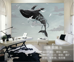 Wholesale Animal House Wallpaper - Painting Sky Whale Mural Wall Paper 3d Photo Murals Animal for Living Room TV Background Cetacean Vinyl Wallpapers Wall Decor