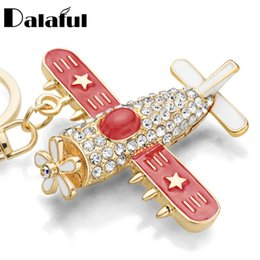 Wholesale Plane Keyrings - Plane Aircraft Key Chains Rings Holder Flower Star Crystal Rhinestone Purse Bag Buckle Pendant Keyrings KeyChains K278
