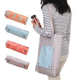 Handgemalte taschentaschen online-Hochwertige wiederverwendbare Handtaschen Hand bemalte Tasche Korean Hohe Kapazität Lebensmittelgeschäft greifen Einkaufstaschen faltbare Aufbewahrungstasche Frauen Tote
