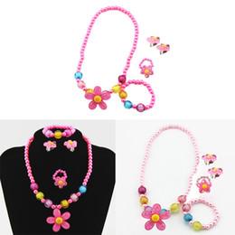 baby mädchen perlen armbänder Rabatt 4pcs Kinder Baby Nachahmungen von Perlen-wulstige Sun-Blumen-Halsketten-Armband-Ring-Ohrring-Dekoration-Schmuck-Set Kinder-Party-Baby-Geschenke