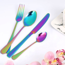 Wholesale Metal Dinner Forks - Colorful Romantic Dinner Tableware Set Rainbow Flatware Set Wedding Travel Cutlery Set Stainless Steel Dinner Knife Fork Soup Spoons