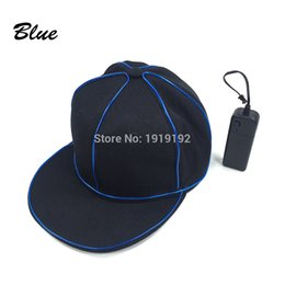 Wholesale Hat Pirates - 2017 New EL Wire hat LED Neon black hat hip hop For Halloween Party And Wedding Decor Cosplay Series Caps