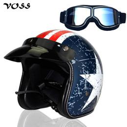 2019 capacetes de motocicleta vintage VOSS open face 3/4 motocicleta motorcross capacete Casco Capacete, scooter capacete Vintage e óculos de prata, frete grátis desconto capacetes de motocicleta vintage