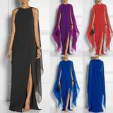 i vestiti neri hanno sparato i manicotti lunghezza della caviglia Sconti Le nuove donne Chiffon Split Maxi Long Evening Party Dress Ladies Beach Abiti Sundress 4 colori 5 dimensioni