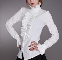 Рубашка с длинным рукавом онлайн-HIRIGIN 2018 fashion style Victorian Women OL Office Lady Shirt High Neck Frilly Ruffle Cuffs Shirt Blouse