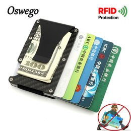Wholesale rfid credit cards - Oswego Carbon Fiber RFID Blocking Card Holders Portable Mini Wallet Strong Rubber Band Male Female Credit Bank Card Holders