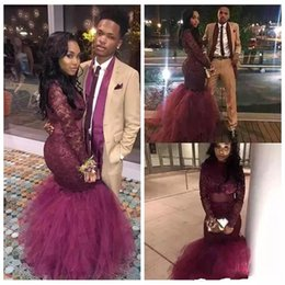 Wholesale Girls Size 12 Slim - 2018 Burgundy Mermaid Black Girls Prom Dresses High Neck Long Sleeves Illusion Formal Evening Gowns Red Carpet Celebrity Lace Slim
